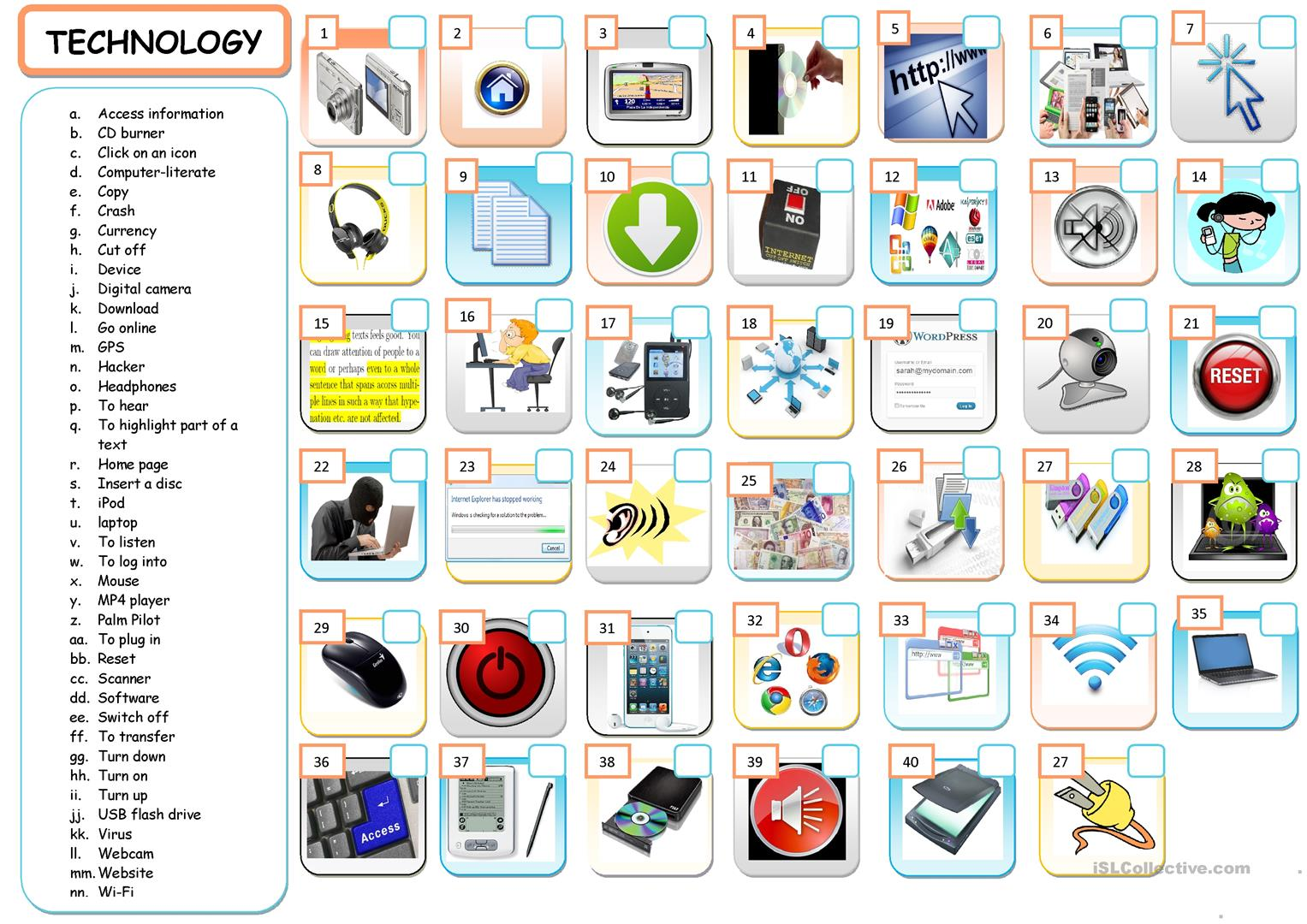 Technology Vocabulary Worksheet
