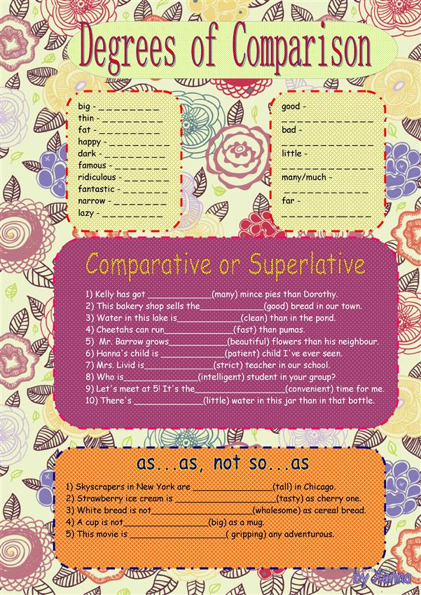 Degrees Of Comparison Of Adjectives Worksheet