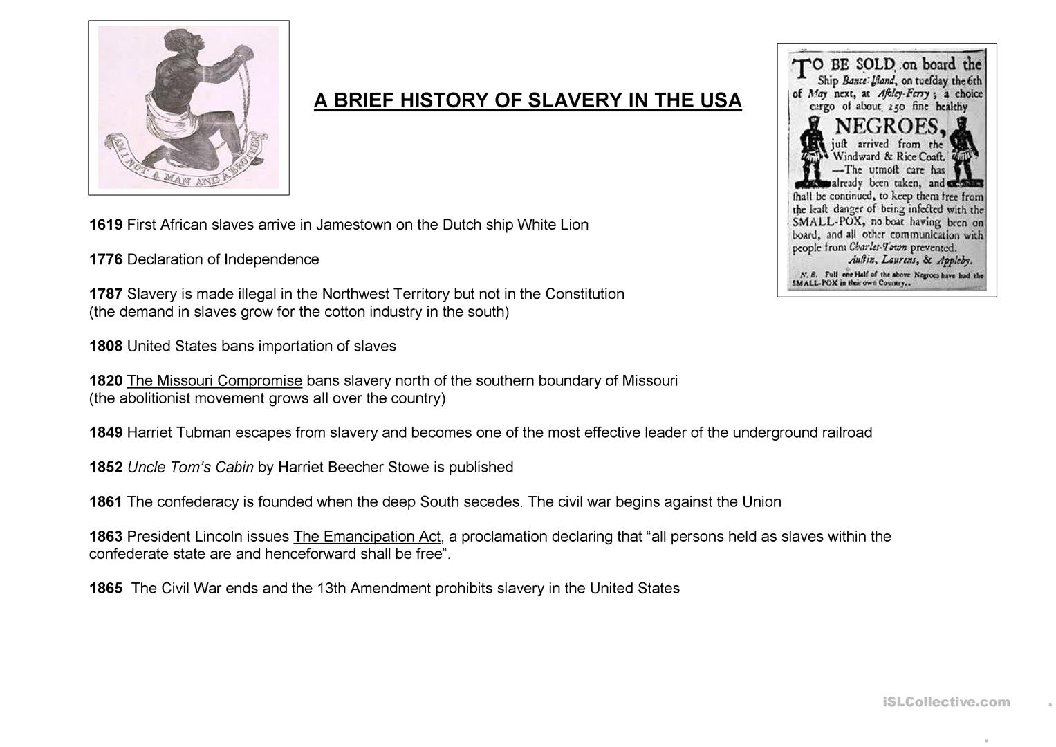 A Brief History Of Slavery In The Usa Worksheet