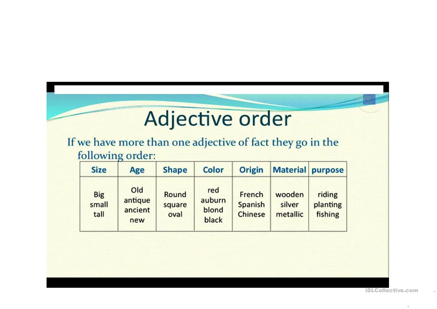 Adjectives Order Worksheet