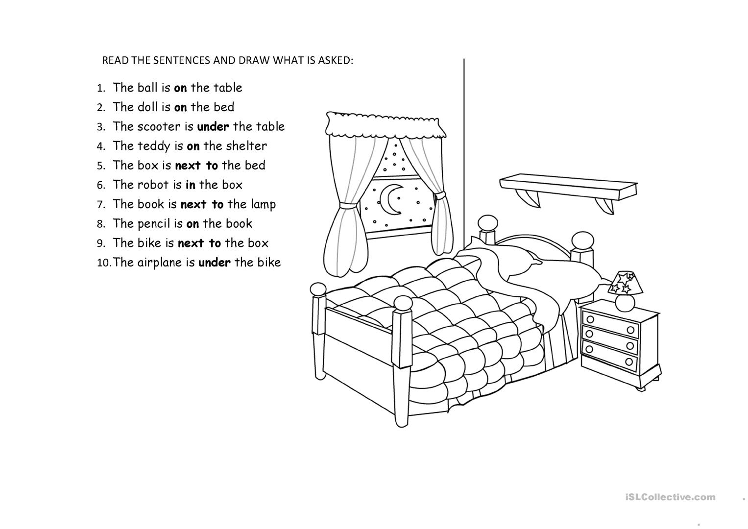 Bedroom Toys And Prepositions Worksheet