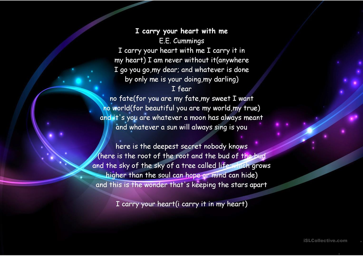 I Carry Your Heart With Me Worksheet