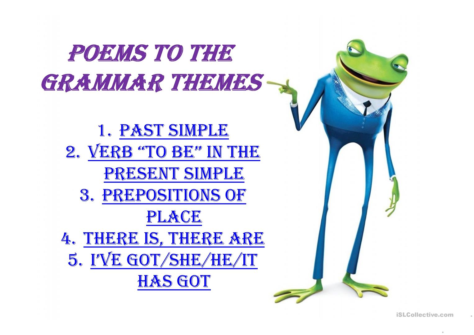 Poems To The Grammar Themes Worksheet