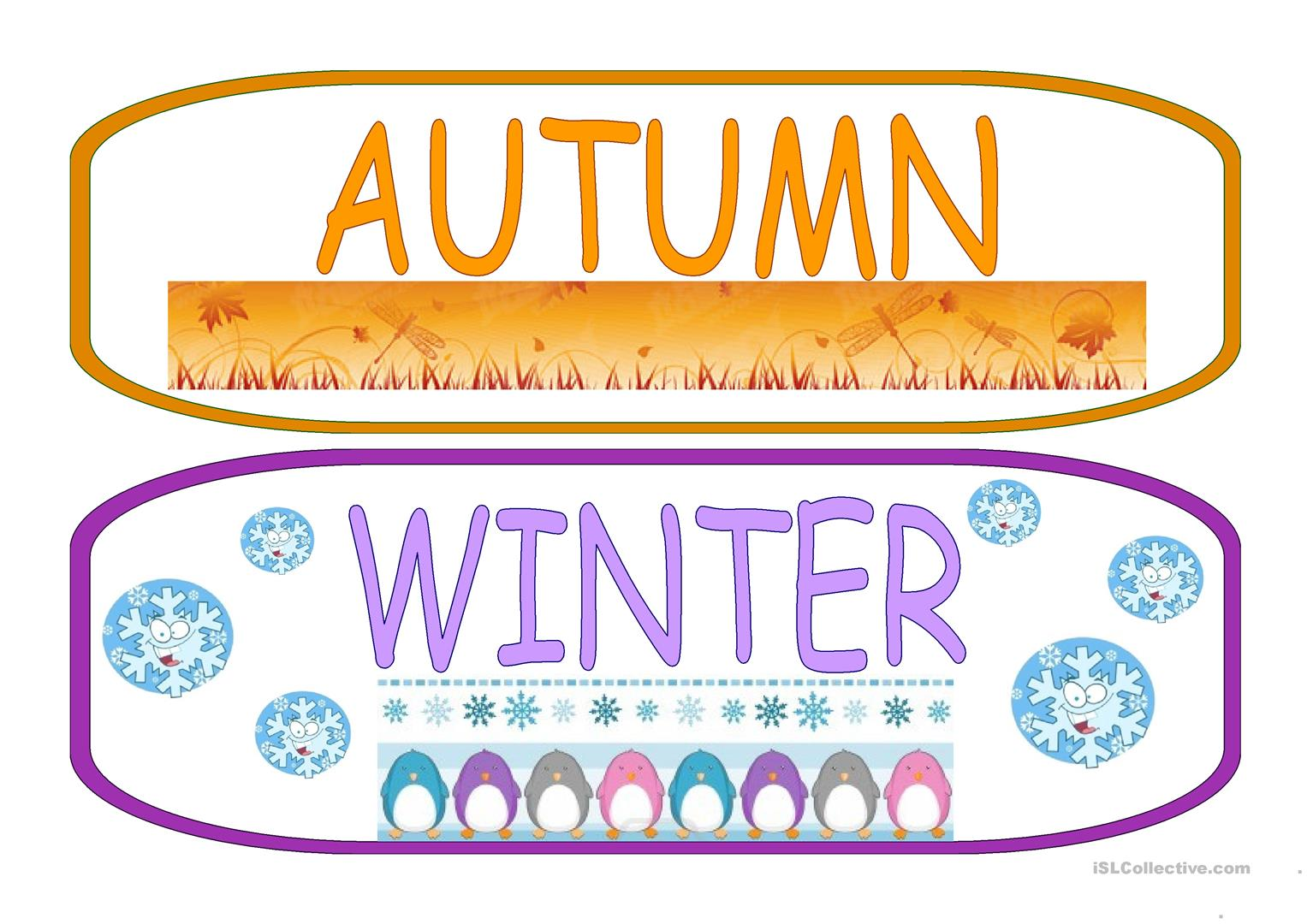 The Seasons Flashcards Worksheet