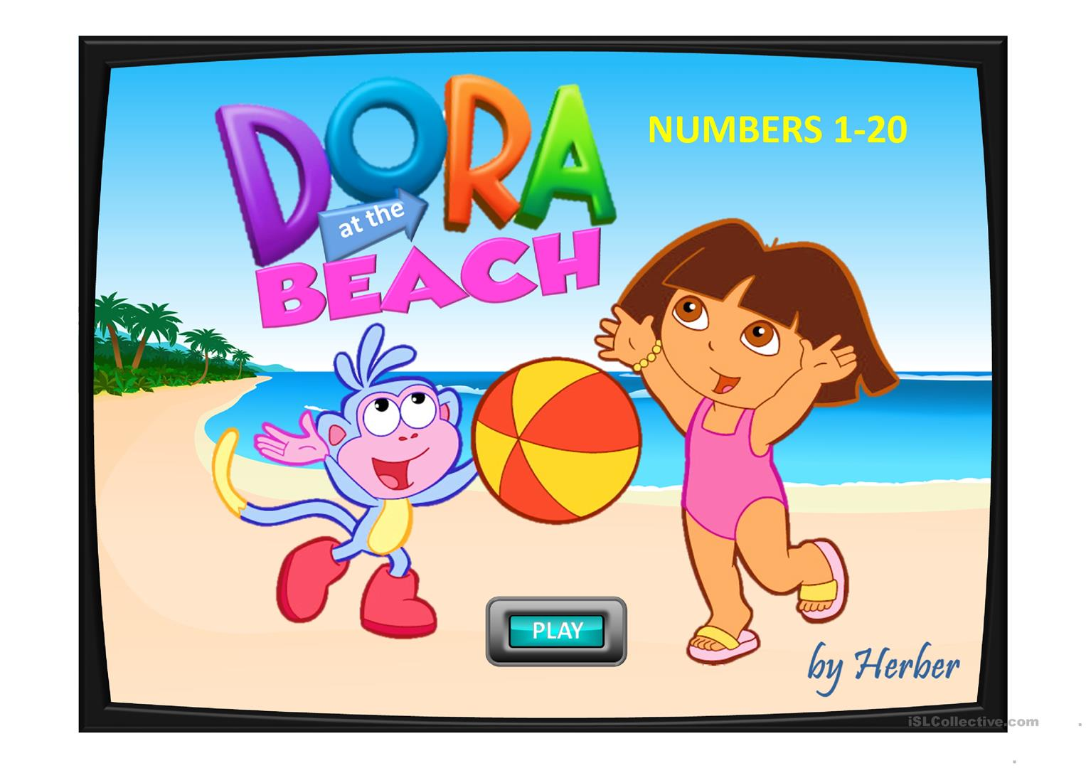 Dora At The Beach Worksheet