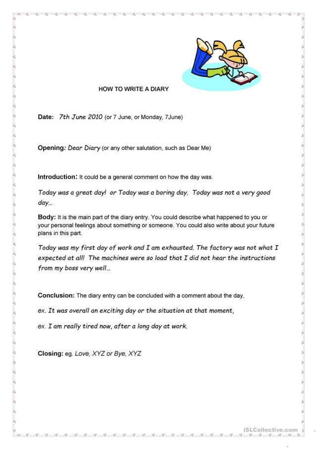 How to write a Diary - English ESL Worksheets for distance