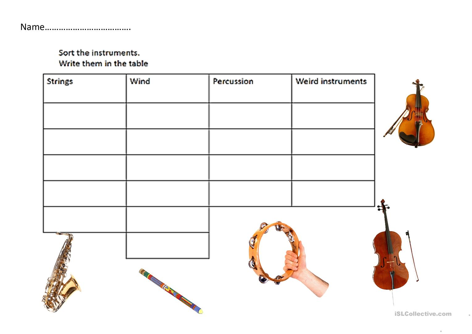 Instrument Sort Table Worksheet