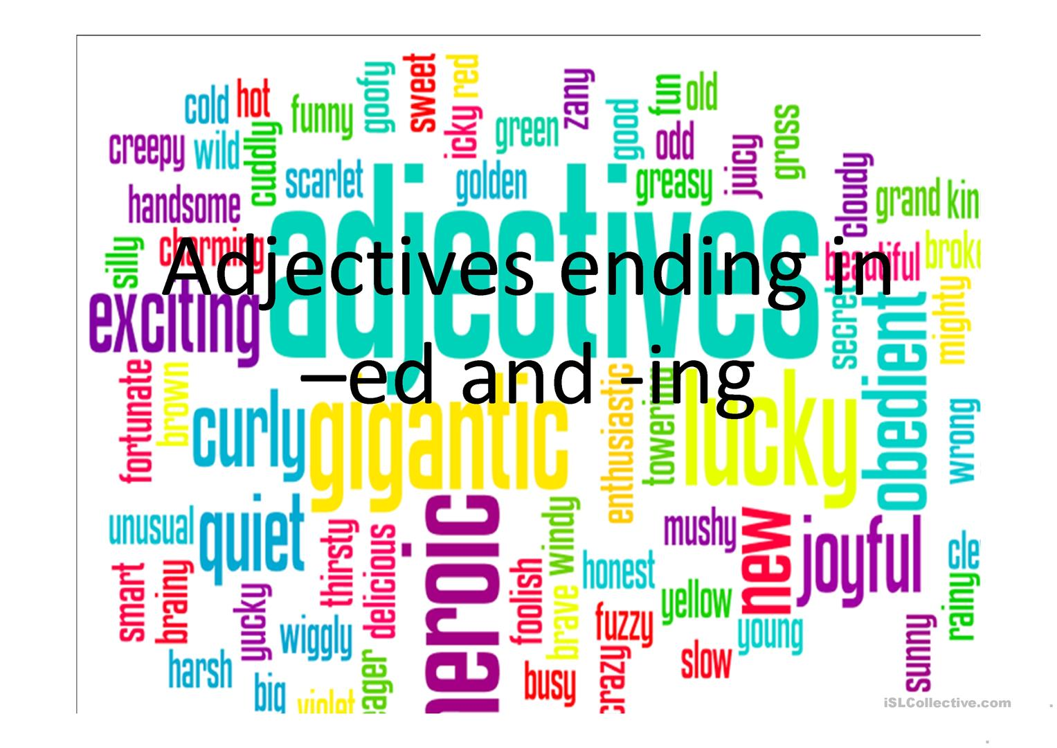 Adjectives Ed Ing Worksheet