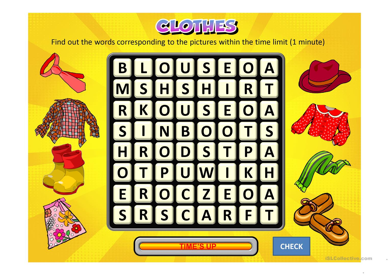 Clothes Wordsearch Worksheet
