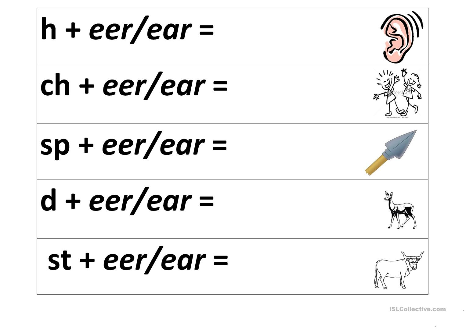 Eer Ear Sound Worksheet