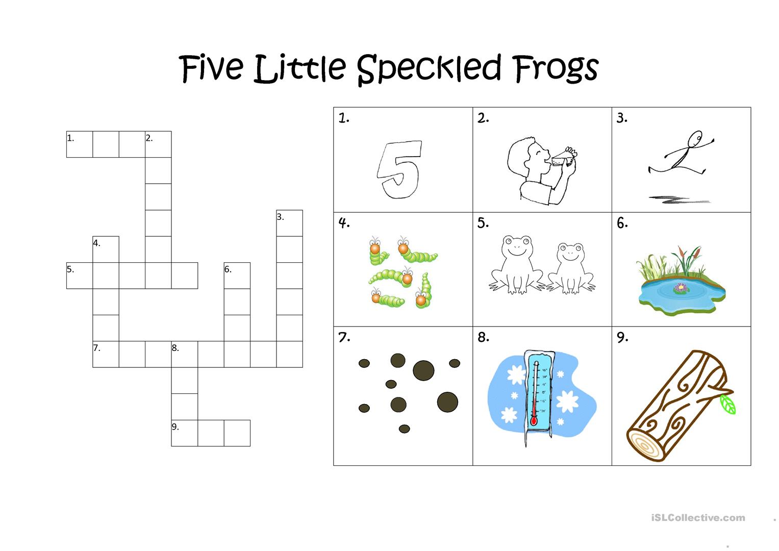 Five Little Speckled Frogs Crossword Worksheet