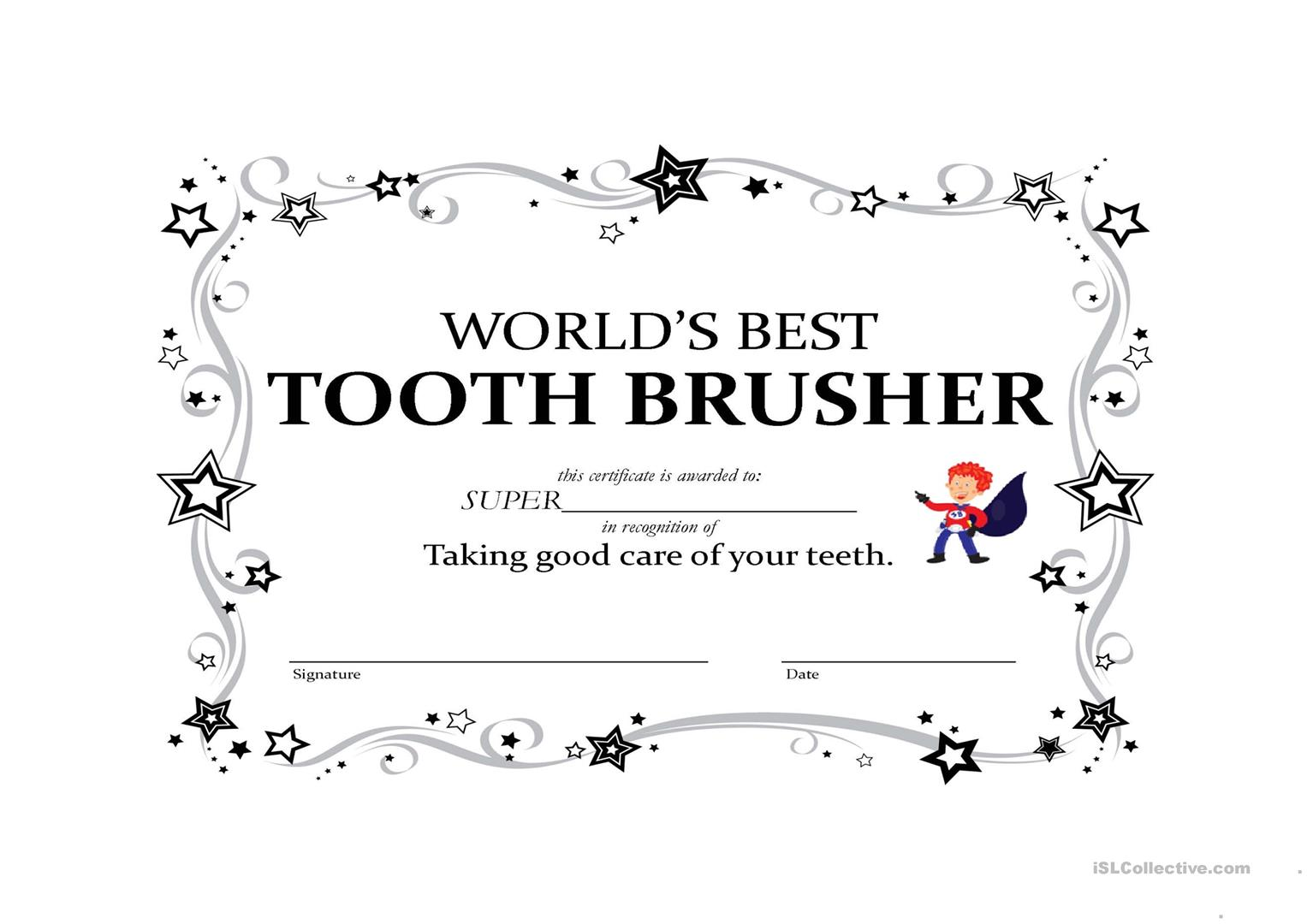 Certificate For Best Toothbrushing Worksheet