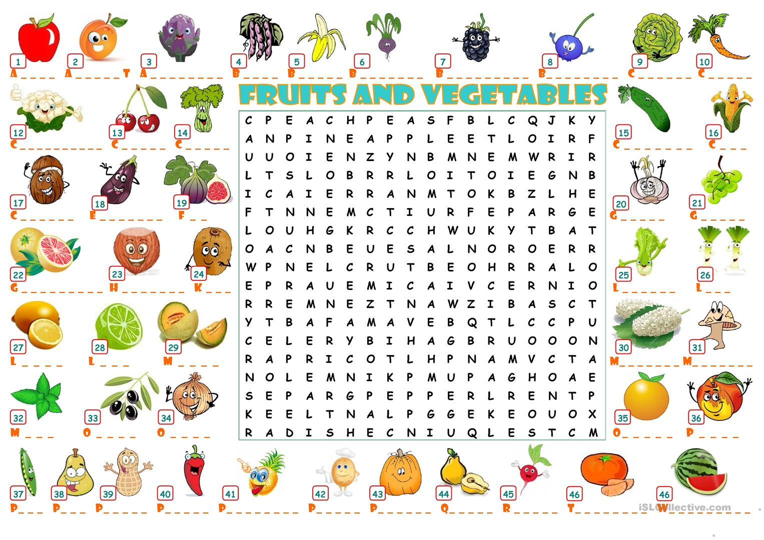 Fruits And Vegetables Wordearch Worksheet