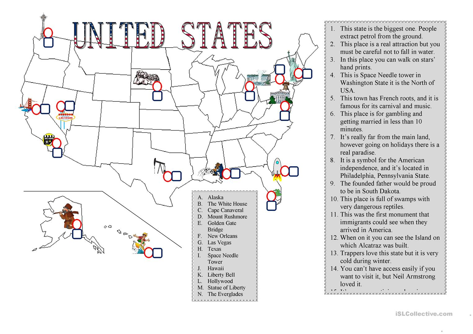 Places In Usa Worksheet