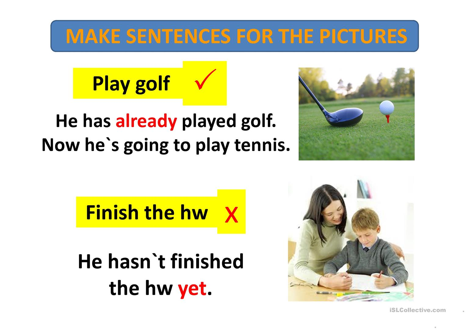 Present Perfect Just Yet Already Worksheet