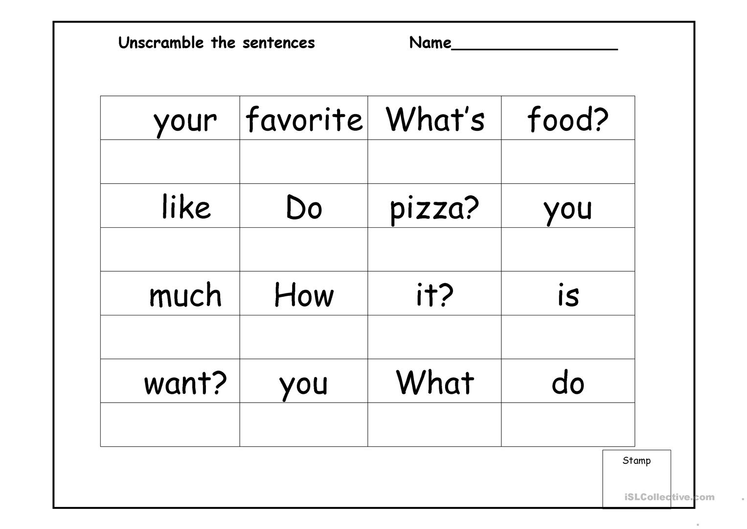 Sentence Scramble Worksheet
