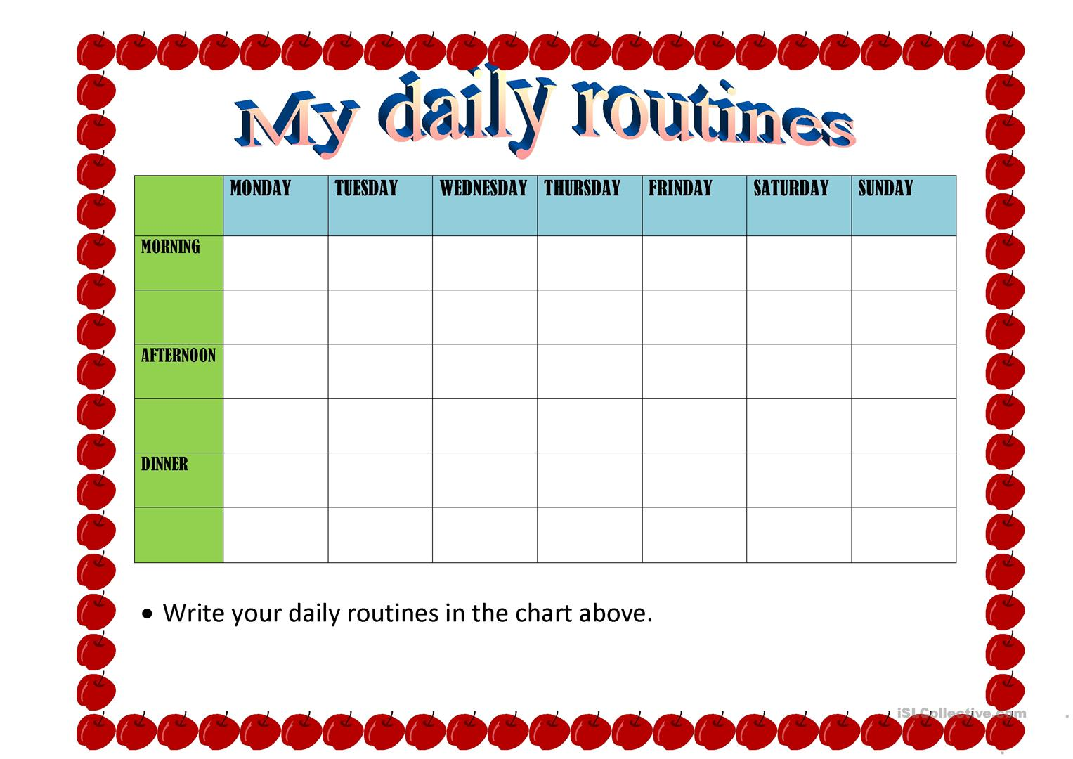 Activity My Daily Routines Worksheet