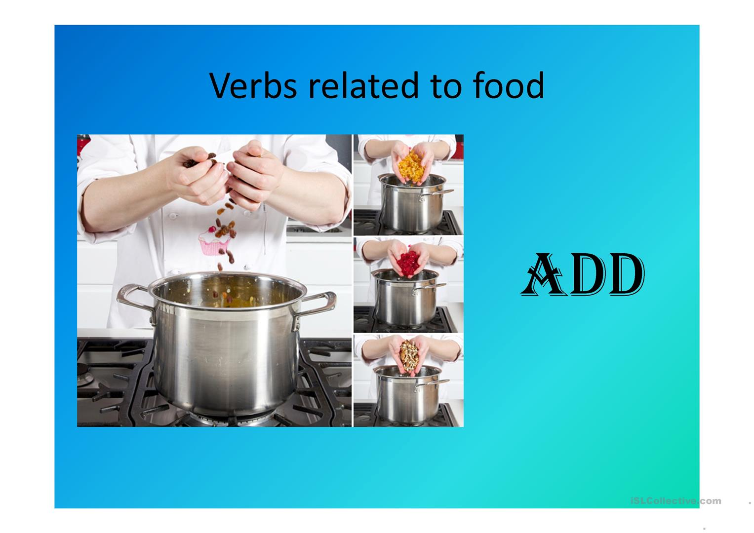 Food Verbs Cooking Worksheet