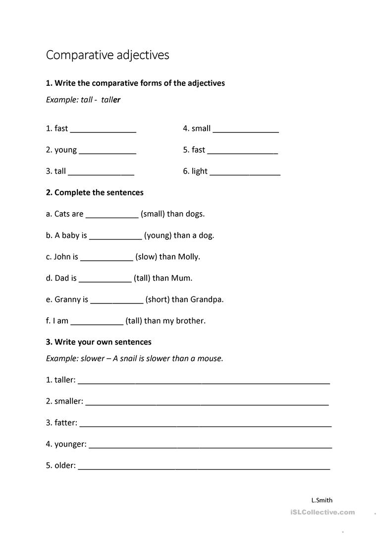 Comparative Adjectives Worksheet Young Learners