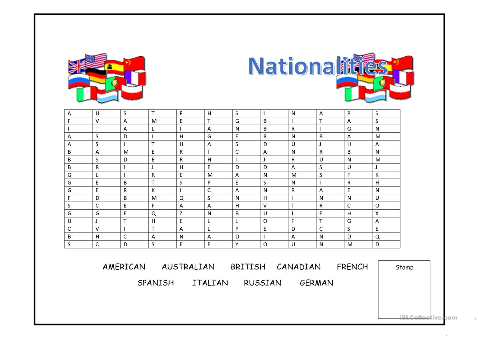 Nationalities Wordsearch