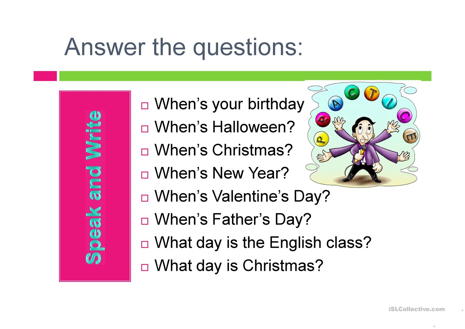 Prepositions In On With Days And Dates