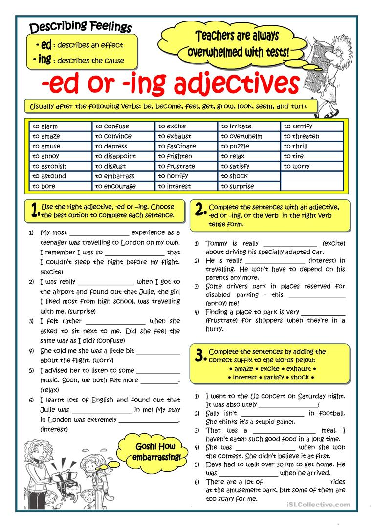 Adjectives Ending In Ed Or Ing Worksheet