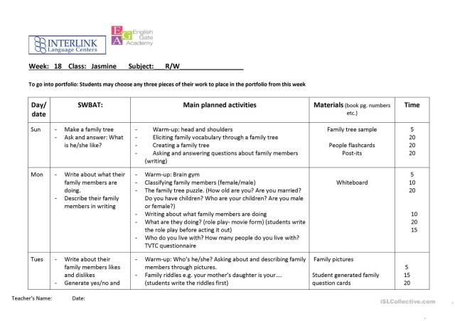 Lesson Plan Reading and Writing -Family - English ESL Worksheets