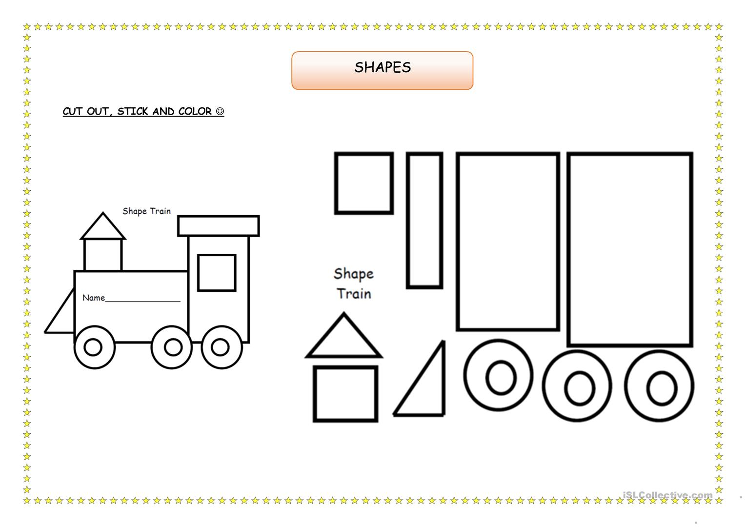 Color By Shape Train Ingles Shapes Worksheets Preschool