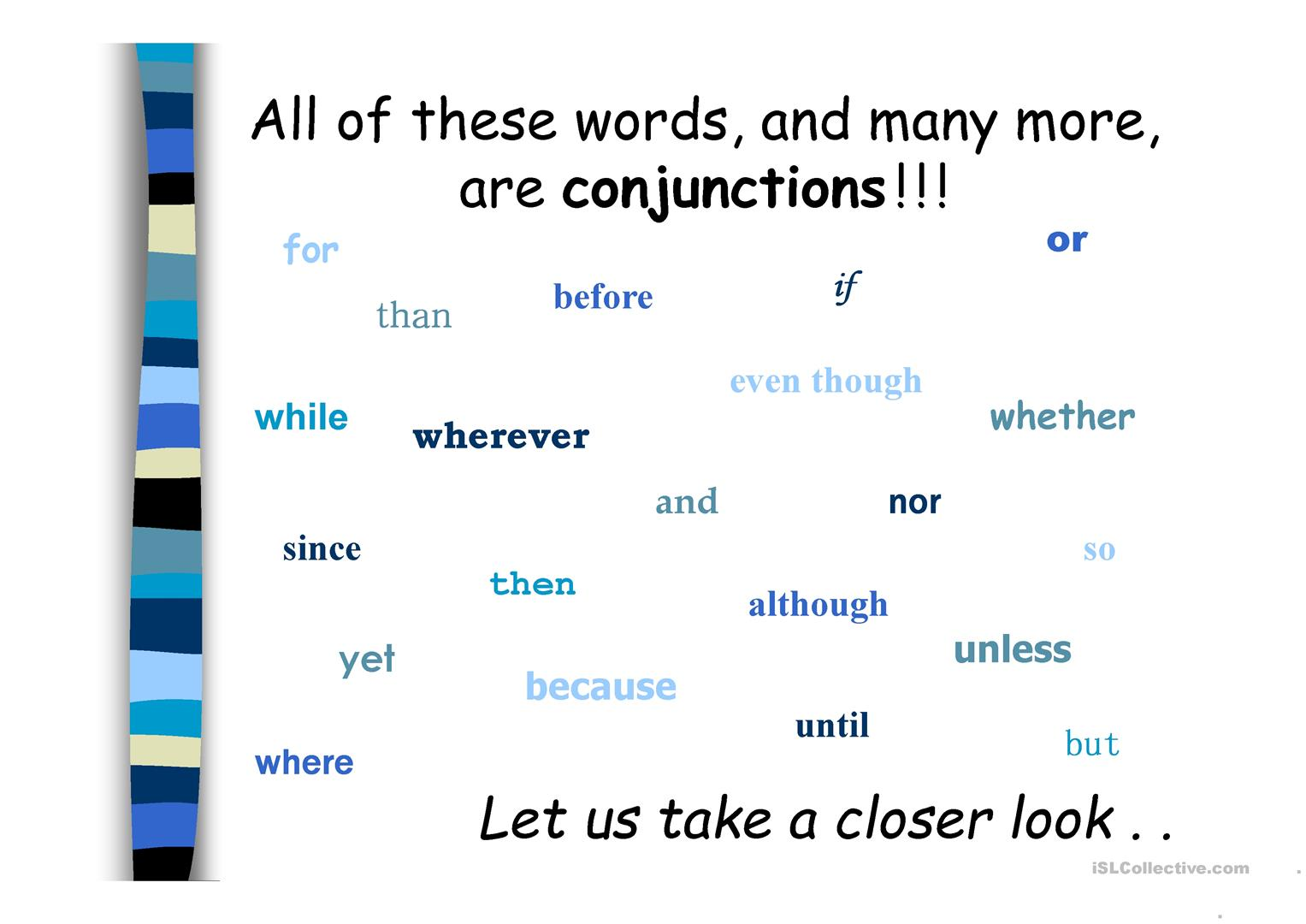 Conjunctions In Detail Worksheet