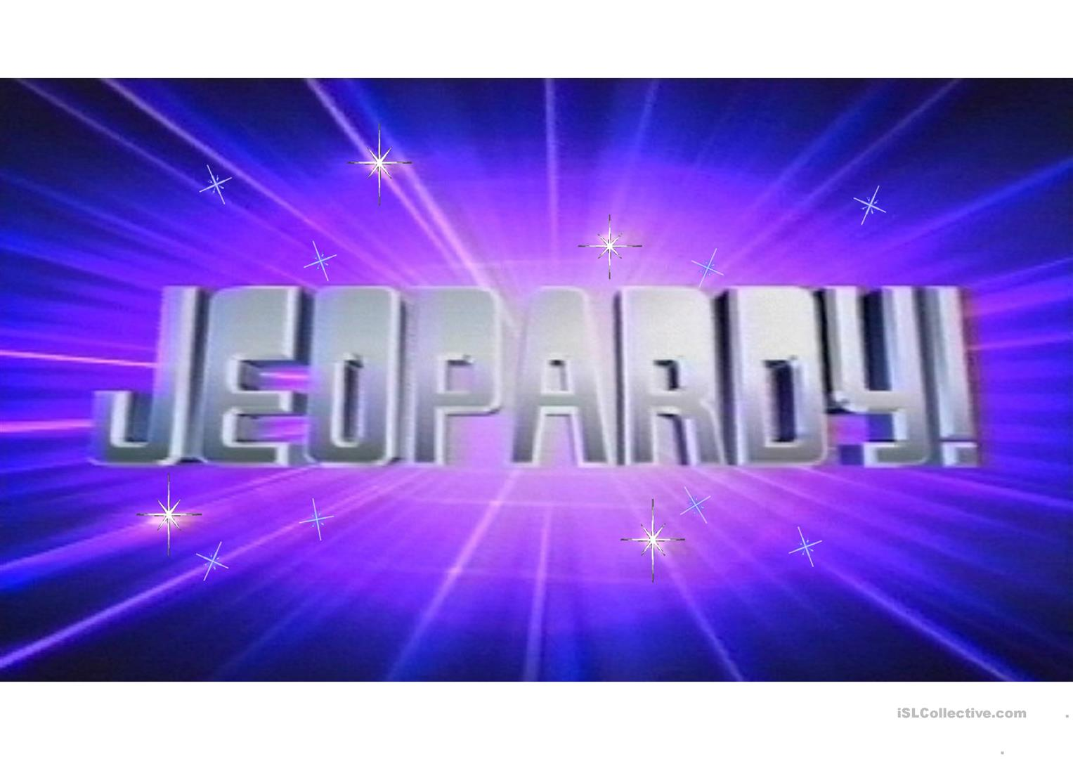 Jeopardy Worksheet