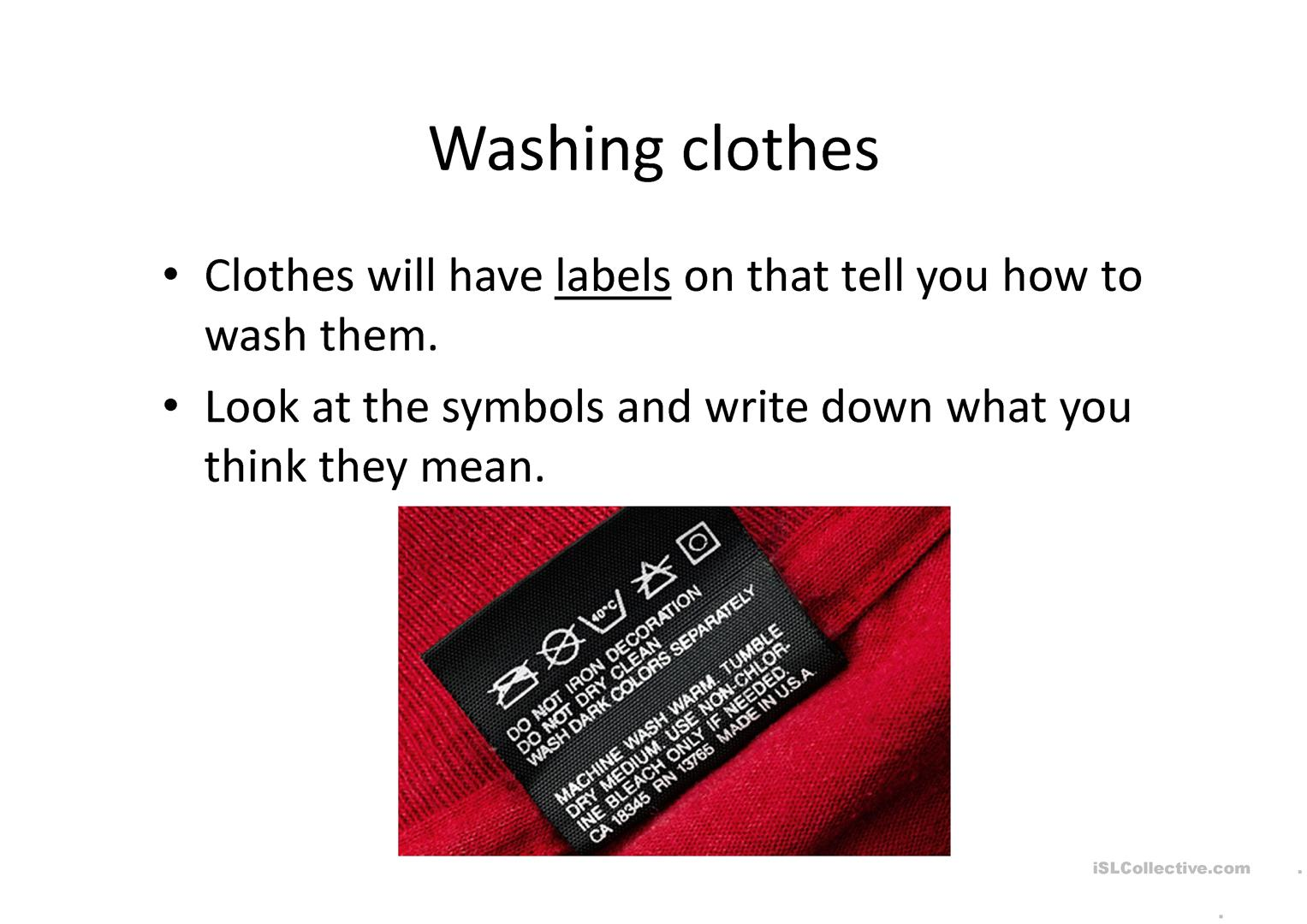 Washing Clothes Worksheet