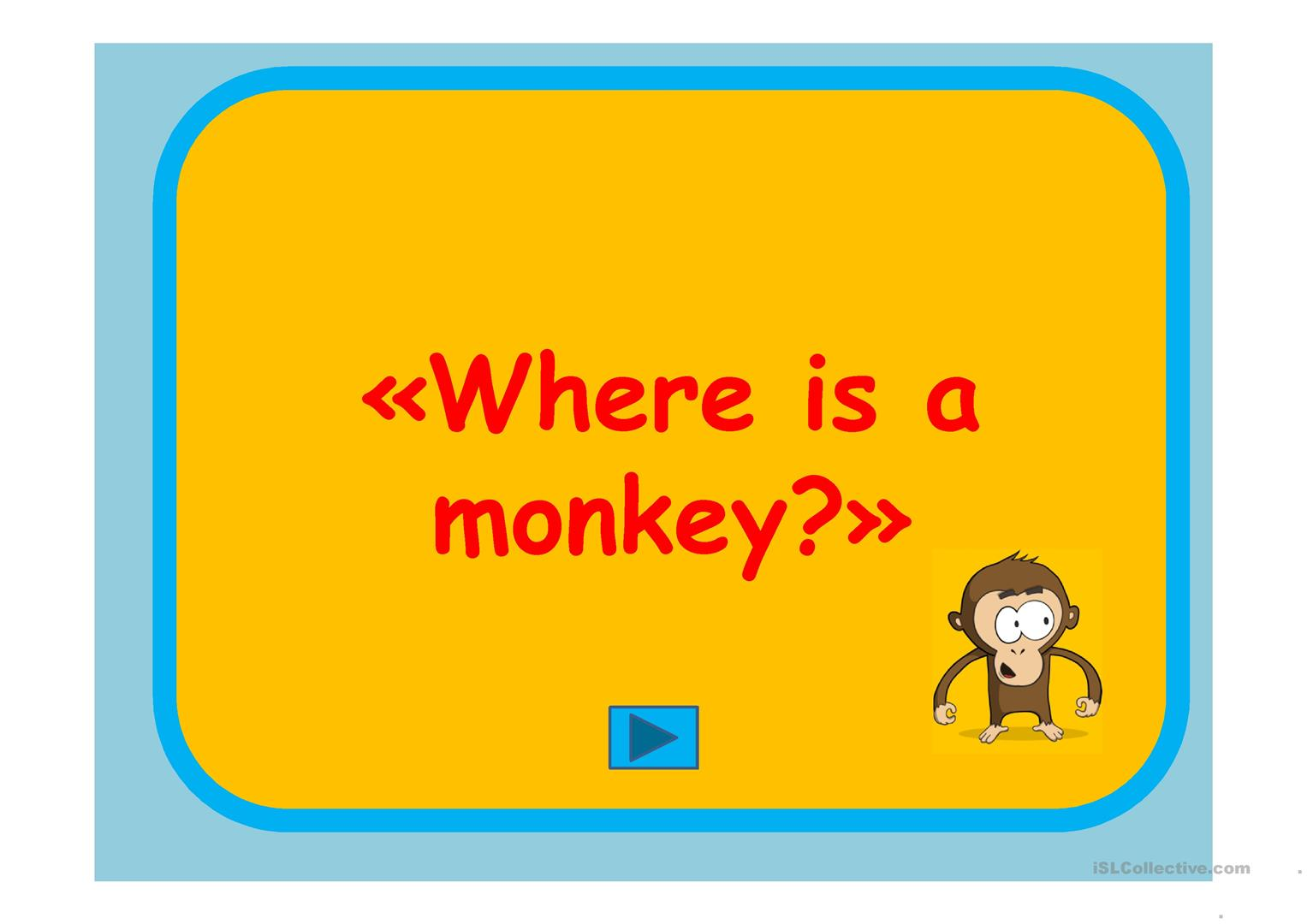 Where Is A Monkey Prepositions Worksheet