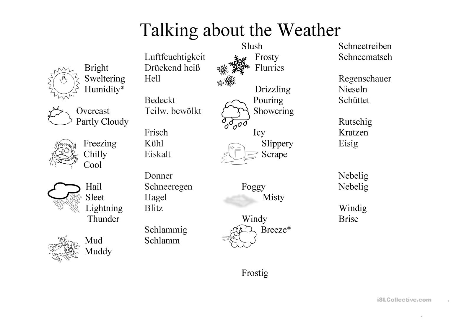 Weather Worksheet German English Worksheet