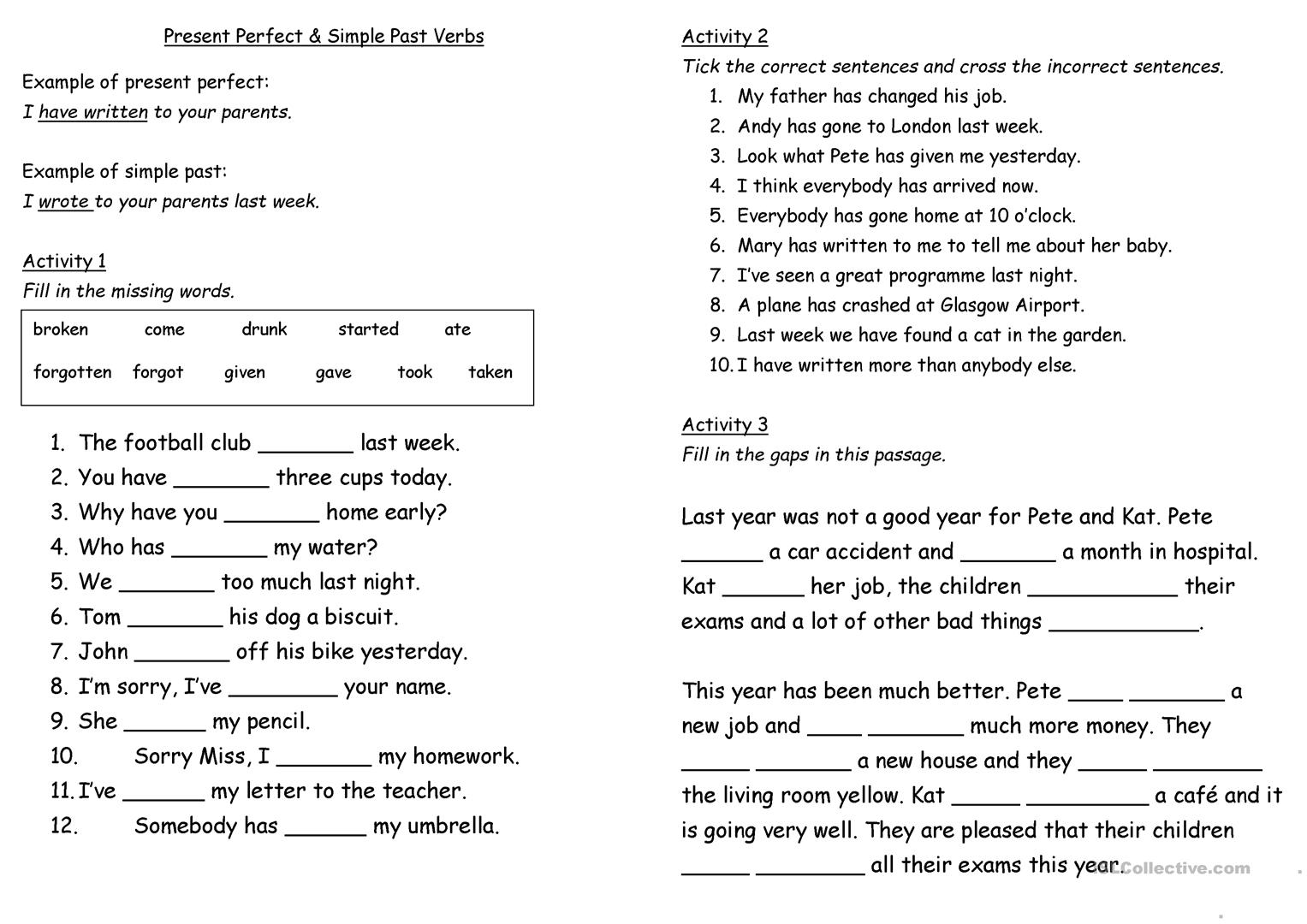 Present Perfect And Past Simple Worksheet Worksheet