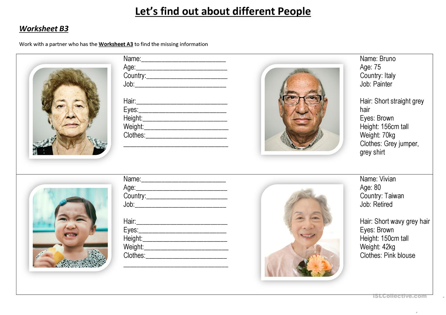 Let S Find Out About Different People Worksheet