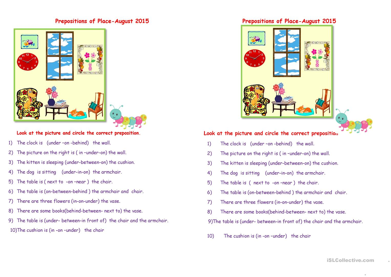 Prepositions Of Place August