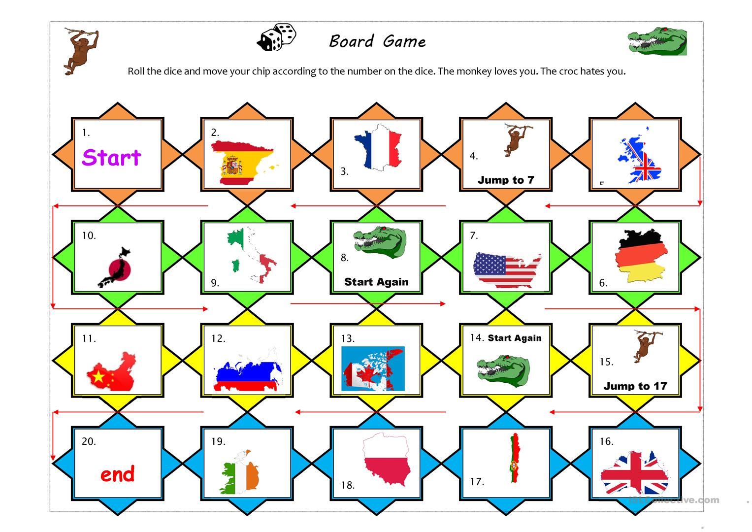 Countries And Nationalities Boardgame Worksheet