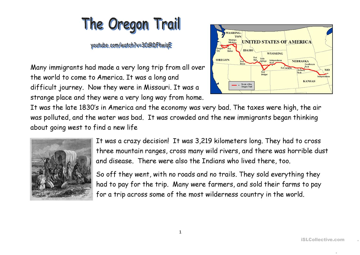 Oregon Trail Reading And Video Worksheet