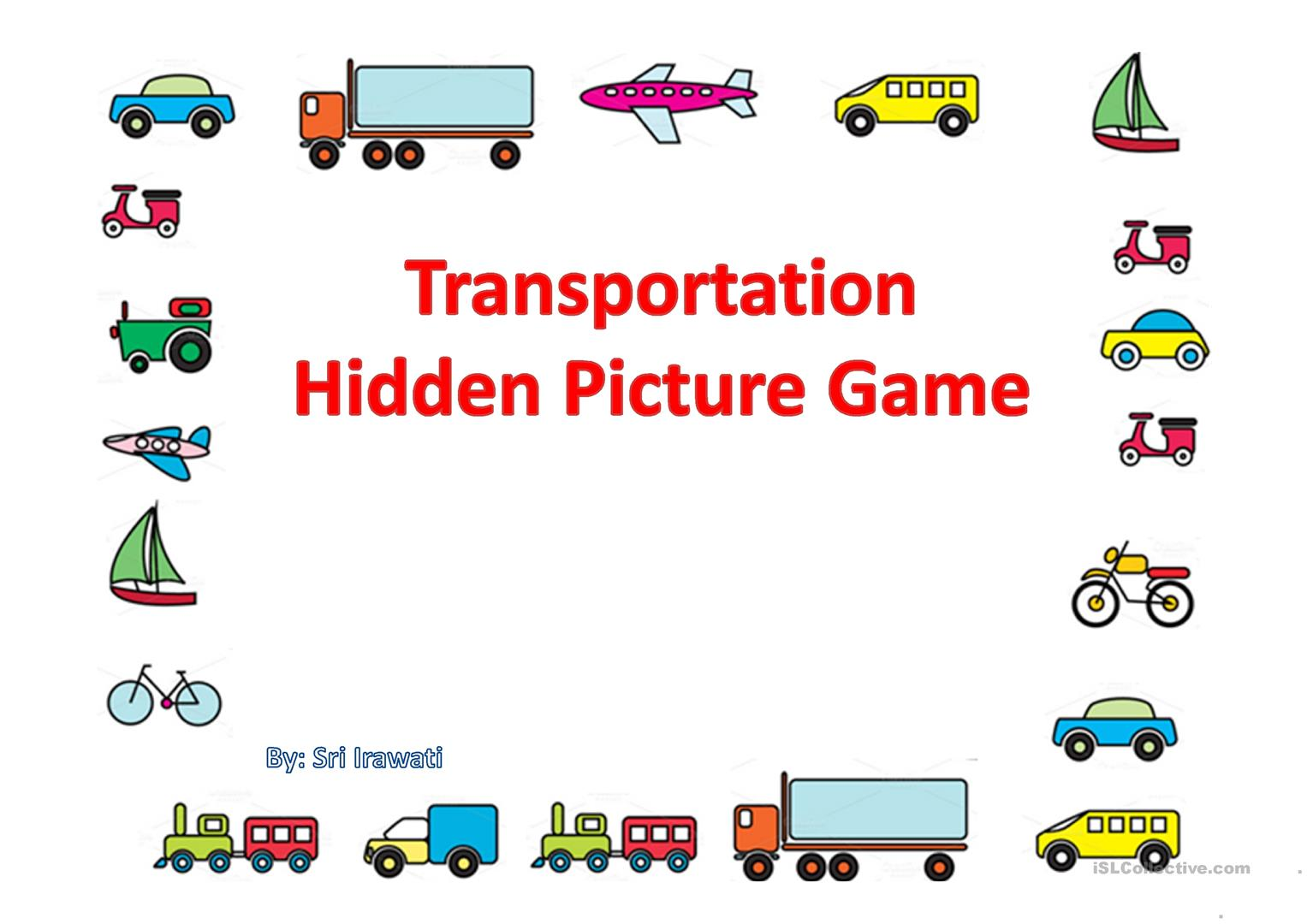 Transportation Hidden Picture Worksheet