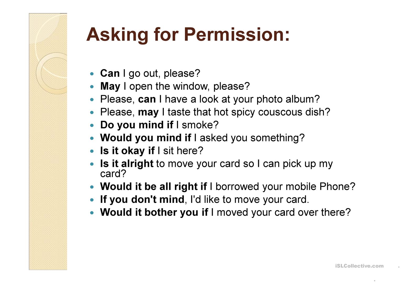 Asking For Permission Worksheet