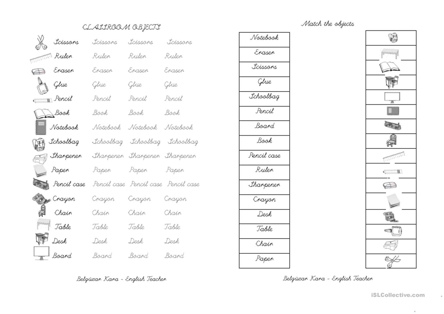 Classroom Objects Worksheet