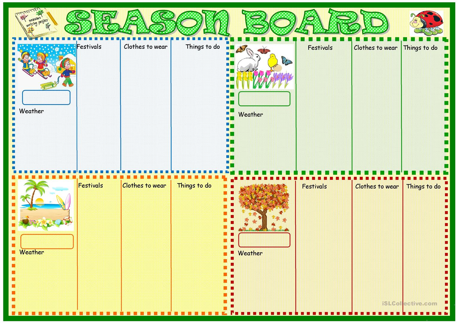 Season Board Worksheet