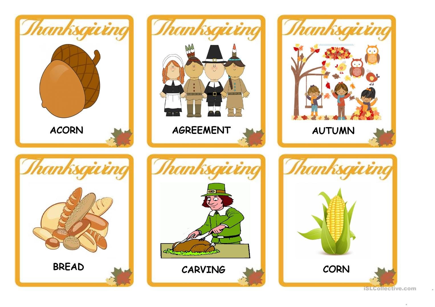 Thanksgiving Category Worksheet