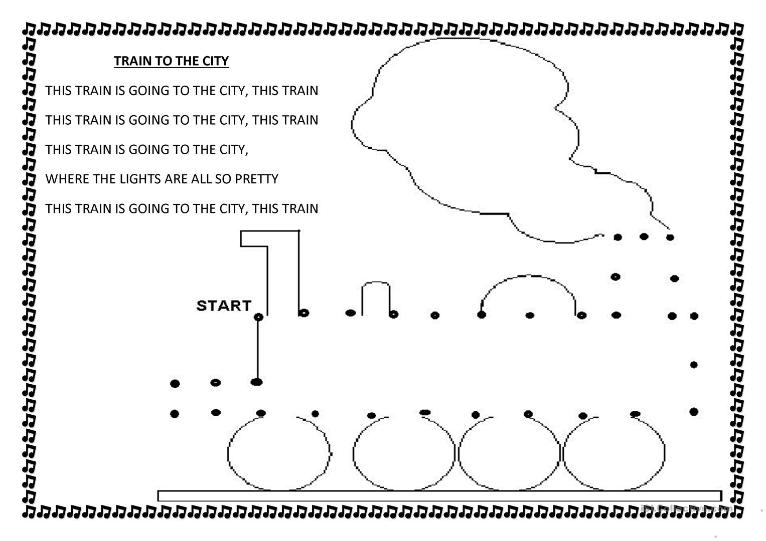 Train To The City Nursery Rhyme Worksheet