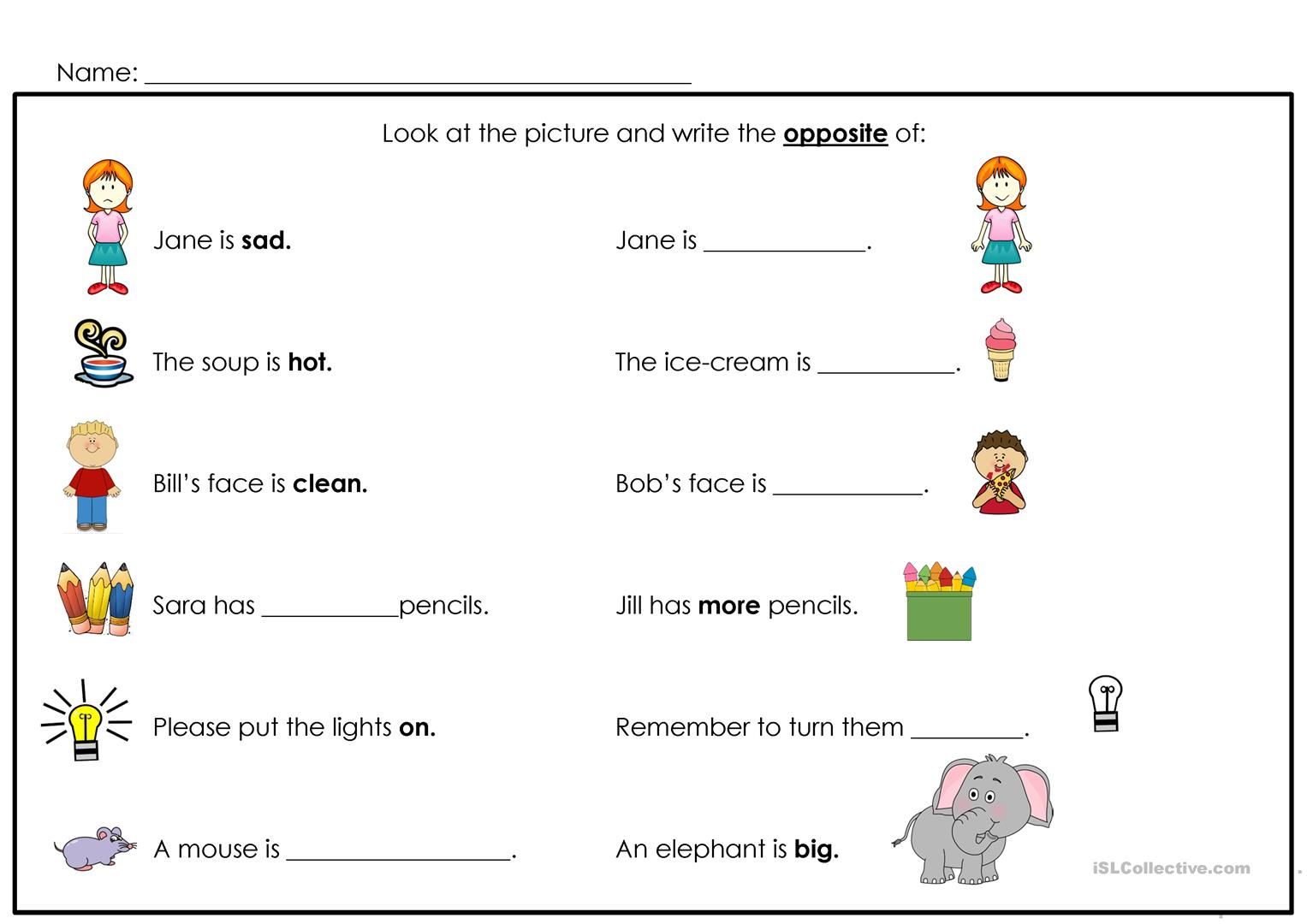 Opposites Worksheet