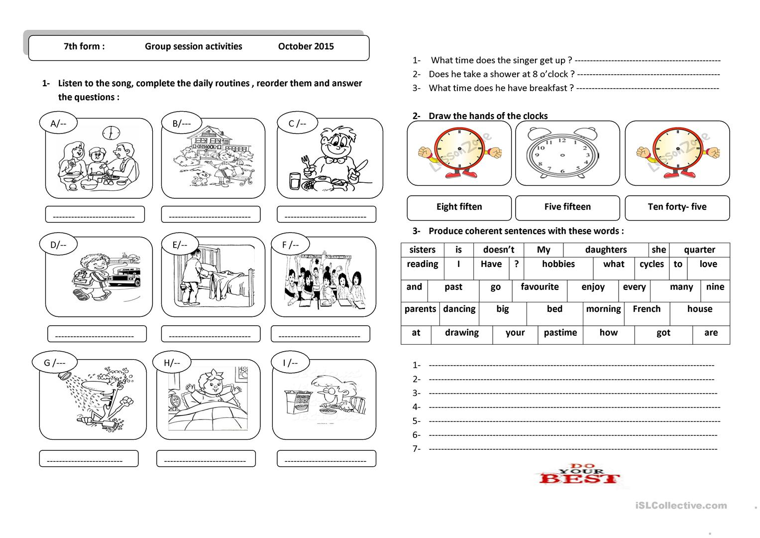 Daily Routines And Telling The Time Worksheet