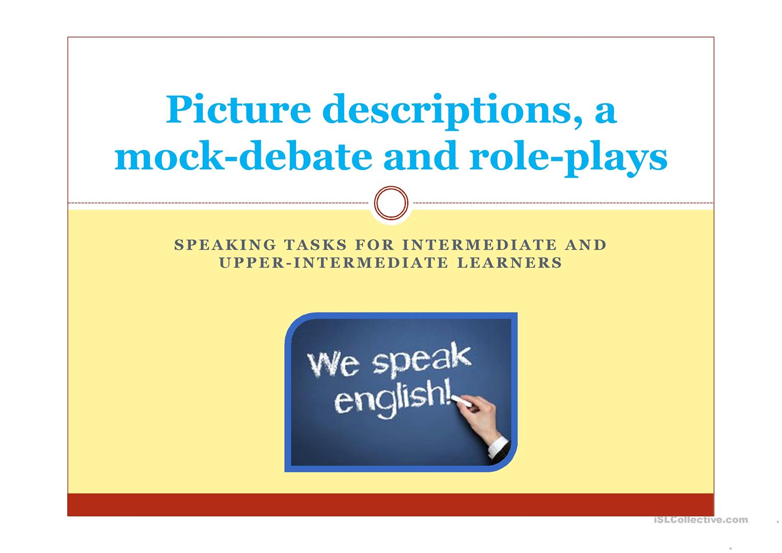 Speaking Tasks For Intermediate Upper Intermediate