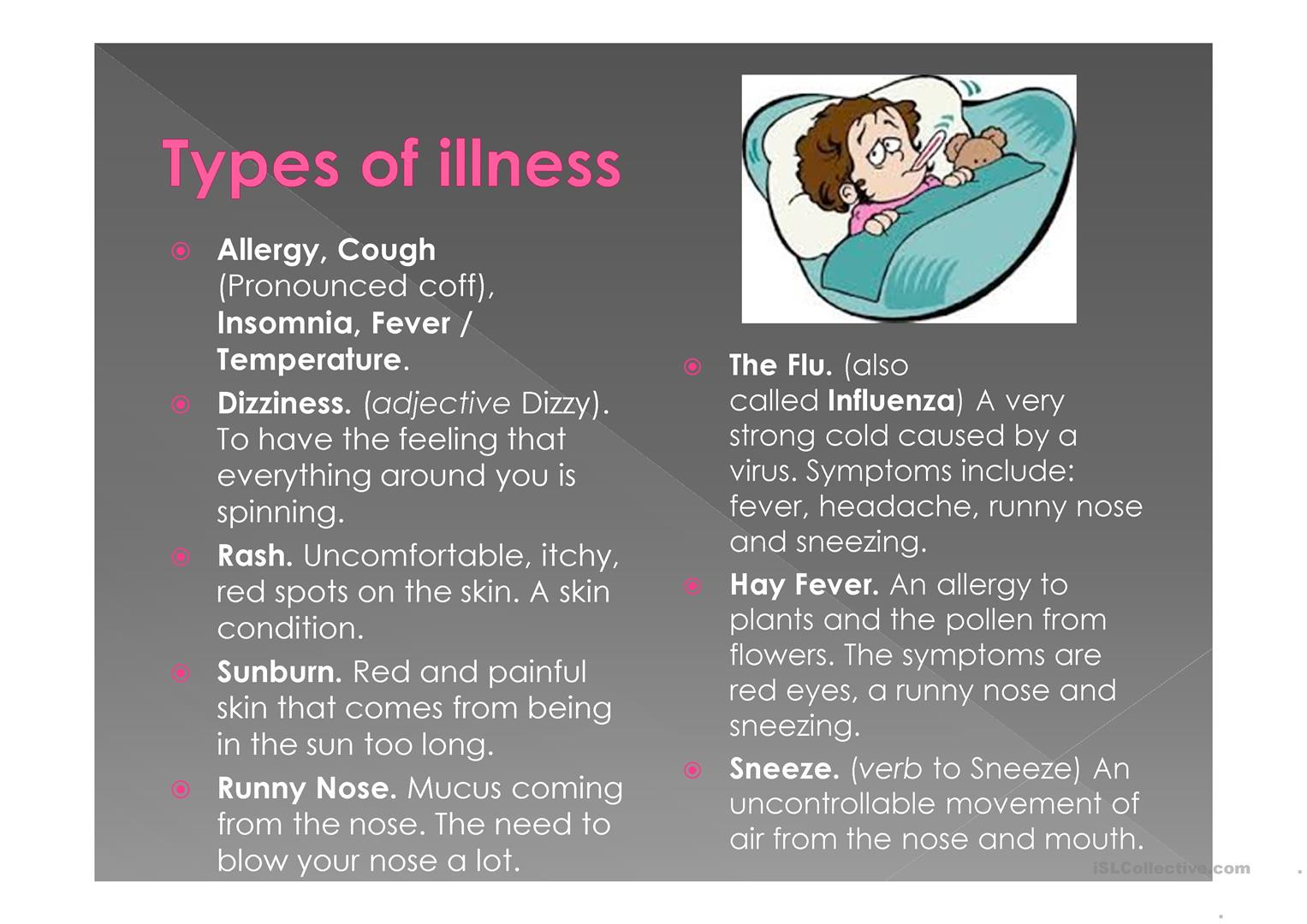 Talking About Illnesses Worksheet