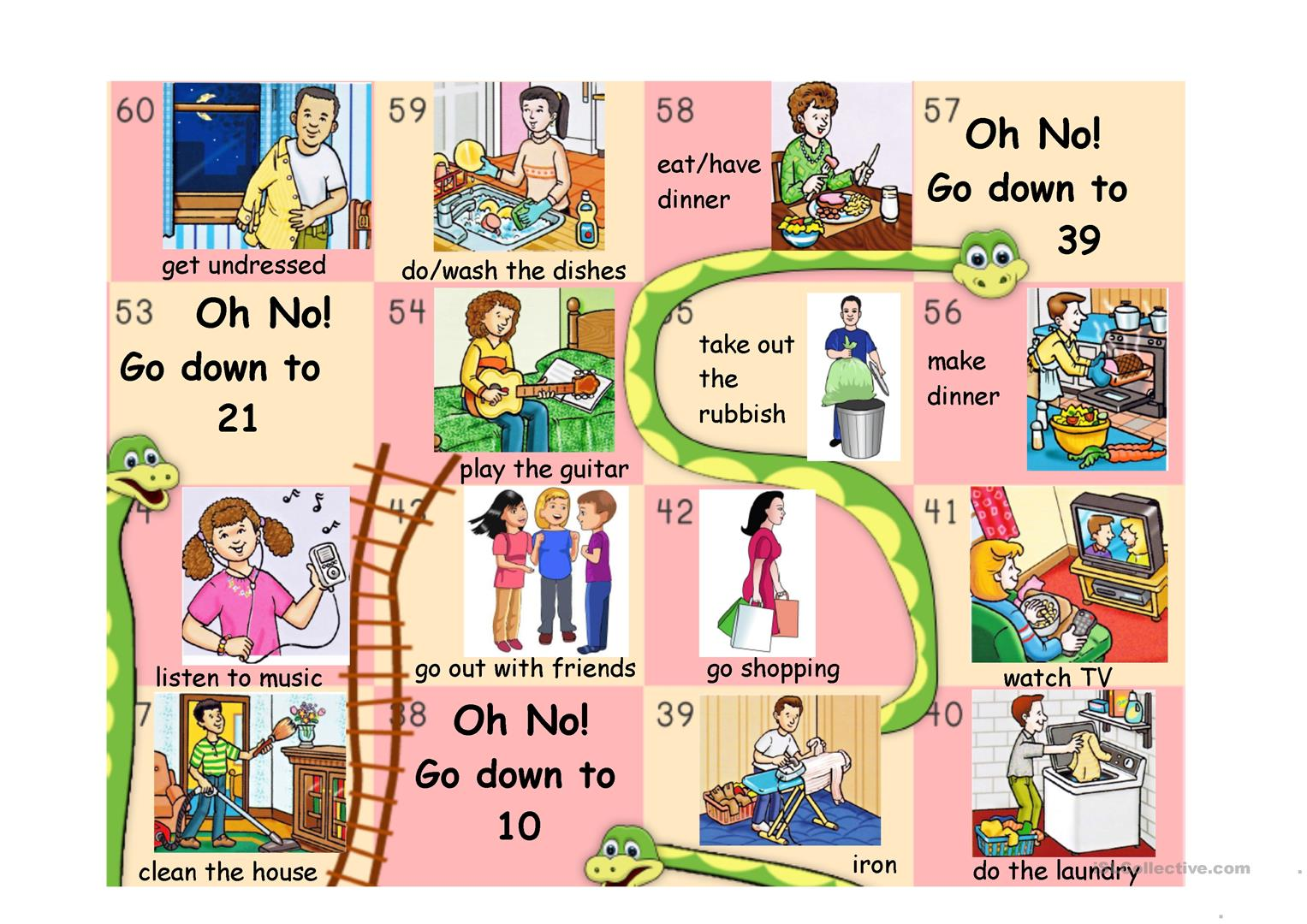Daily Routine Snakes And Ladders Part 2 Worksheet