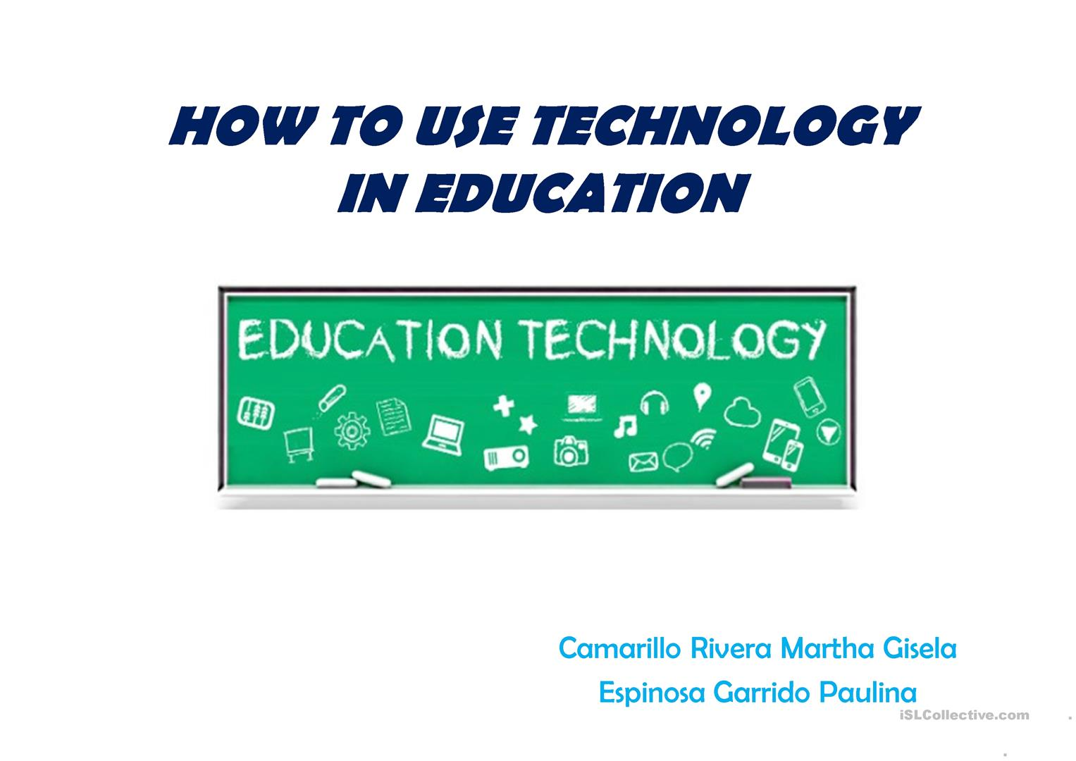 How To Use Technology In Education Worksheet